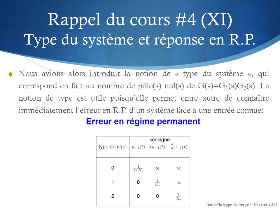 Rappel du cours #4 (XI) Type du système et réponse en R.P. Nous avions alors introduit la notion de « type du système », qui correspond en fait au nom