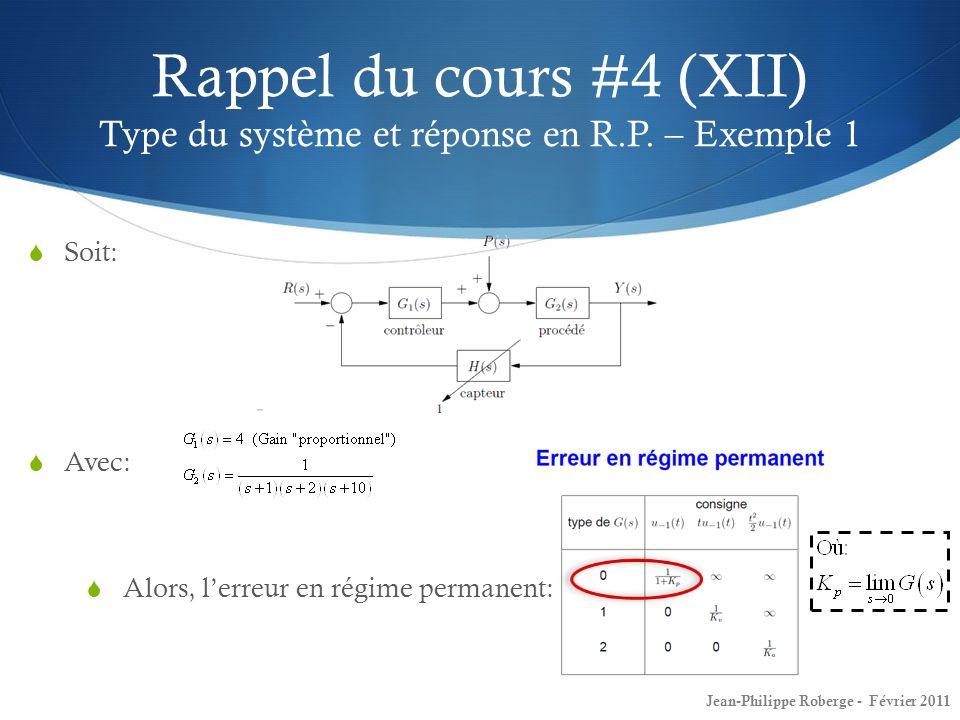 Soit: Avec: Alors, lerreur en régime permanent: Rappel du cours #4 (XII) Type du système et réponse en R.P. – Exemple 1 Jean-Philippe Roberge - Févrie
