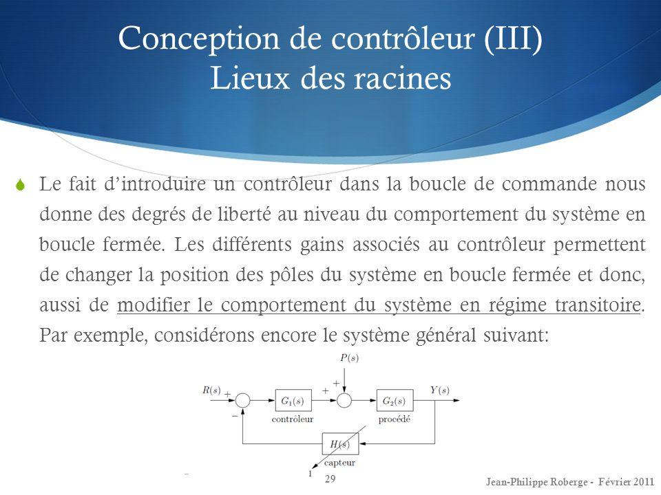 Conception de contrôleur (III) Lieux des racines 29 Le fait dintroduire un contrôleur dans la boucle de commande nous donne des degrés de liberté au n