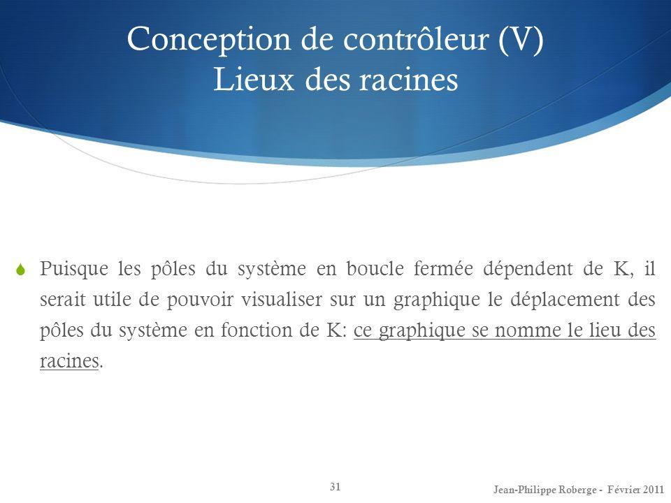 Conception de contrôleur (V) Lieux des racines 31 Puisque les pôles du système en boucle fermée dépendent de K, il serait utile de pouvoir visualiser