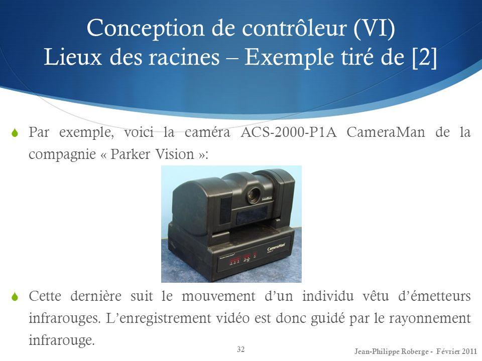 Conception de contrôleur (VI) Lieux des racines – Exemple tiré de [2] 32 Par exemple, voici la caméra ACS-2000-P1A CameraMan de la compagnie « Parker