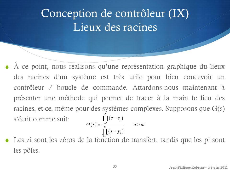 Conception de contrôleur (IX) Lieux des racines 35 À ce point, nous réalisons quune représentation graphique du lieux des racines dun système est très