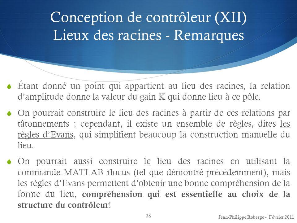 Conception de contrôleur (XII) Lieux des racines - Remarques 38 Étant donné un point qui appartient au lieu des racines, la relation damplitude donne