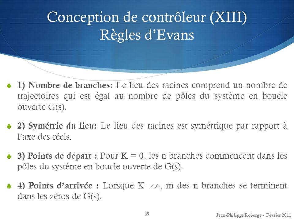 Conception de contrôleur (XIII) Règles dEvans 39 1) Nombre de branches: Le lieu des racines comprend un nombre de trajectoires qui est égal au nombre