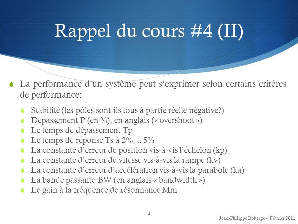 Rappel du cours #4 (II) La performance dun système peut sexprimer selon certains critères de performance: Stabilité (les pôles sont-ils tous à partie