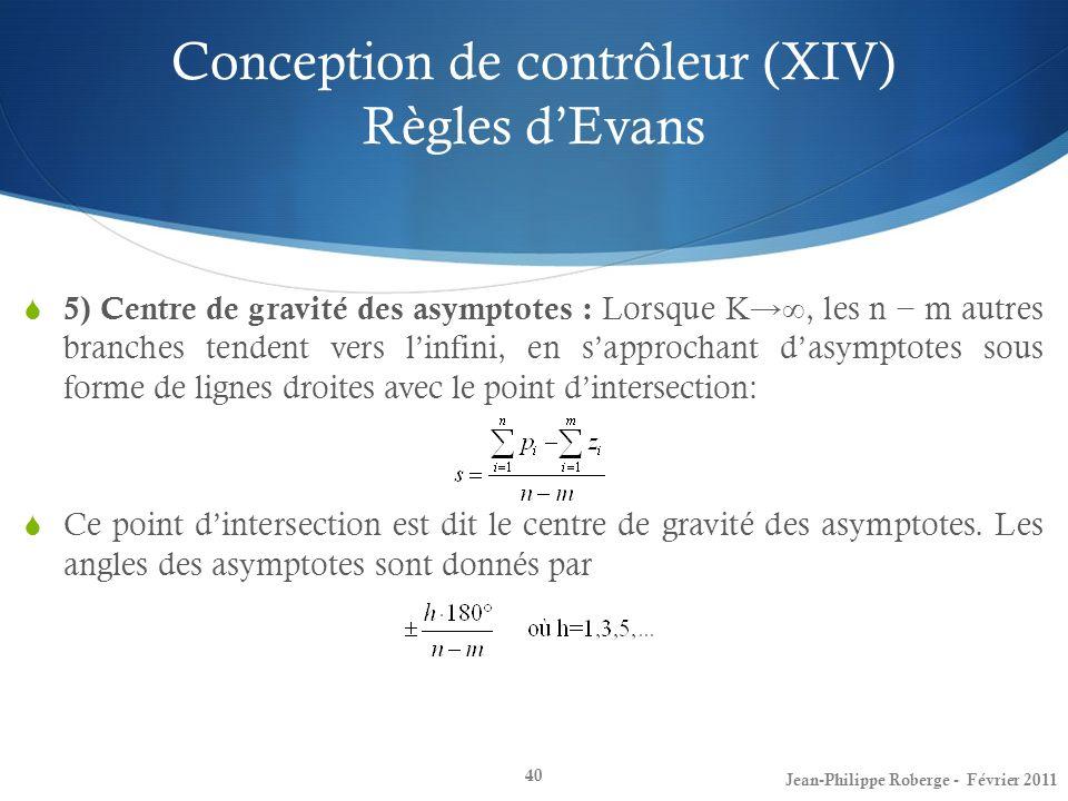 Conception de contrôleur (XIV) Règles dEvans 40 5) Centre de gravité des asymptotes : Lorsque K, les n m autres branches tendent vers linfini, en sapp