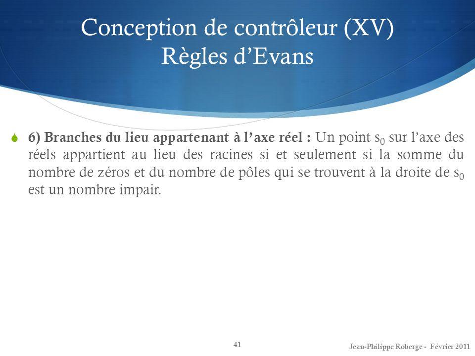 Conception de contrôleur (XV) Règles dEvans 41 6) Branches du lieu appartenant à laxe réel : Un point s 0 sur laxe des réels appartient au lieu des ra