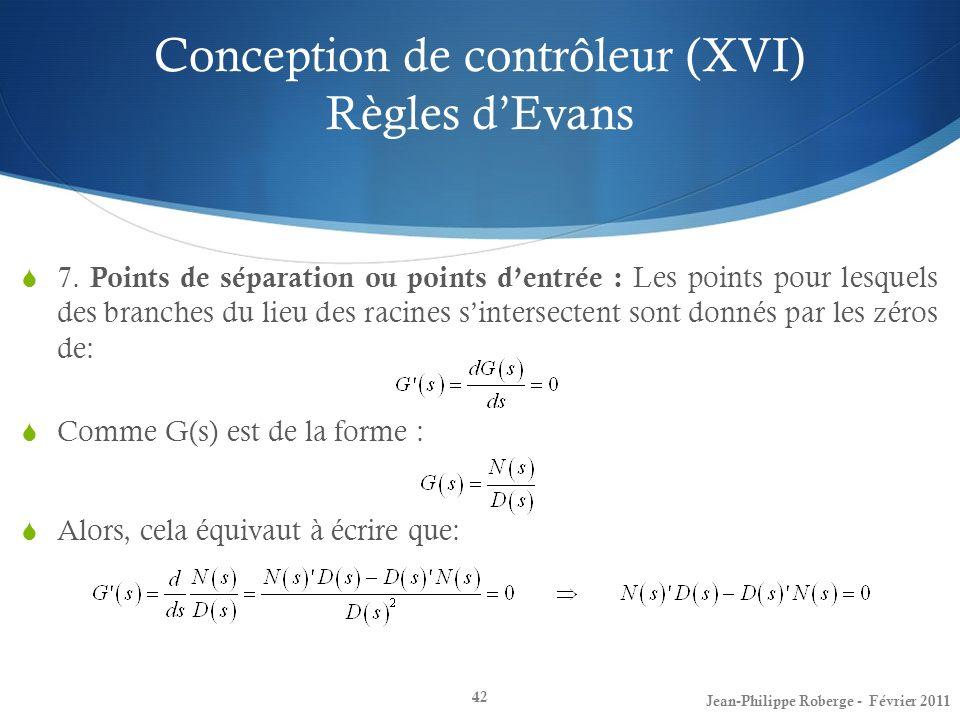 Conception de contrôleur (XVI) Règles dEvans 42 7. Points de séparation ou points dentrée : Les points pour lesquels des branches du lieu des racines