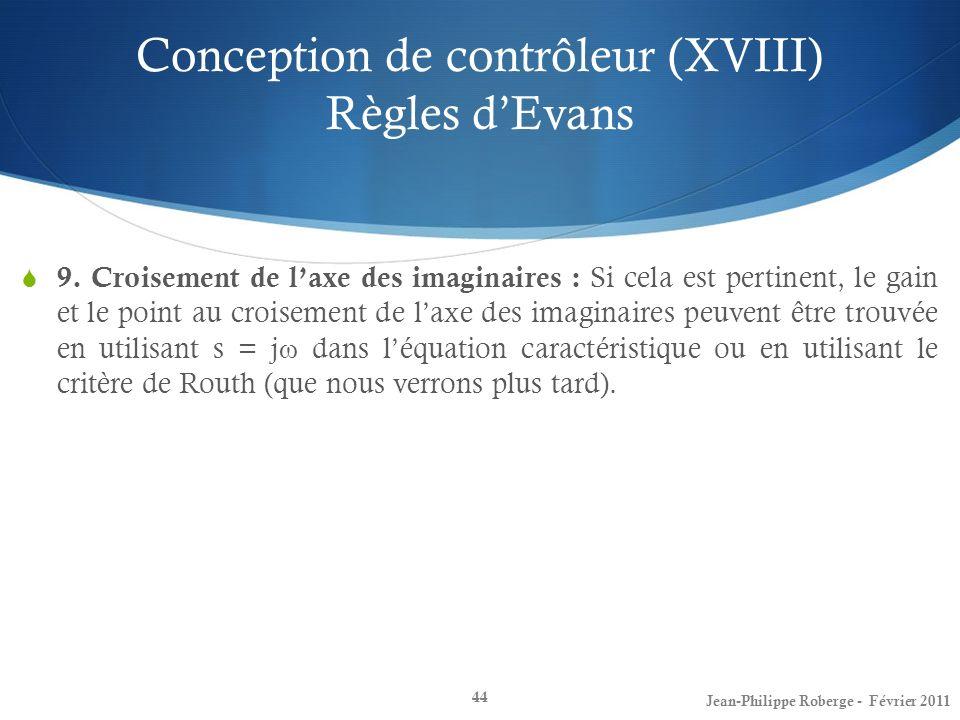 Conception de contrôleur (XVIII) Règles dEvans 44 9. Croisement de laxe des imaginaires : Si cela est pertinent, le gain et le point au croisement de