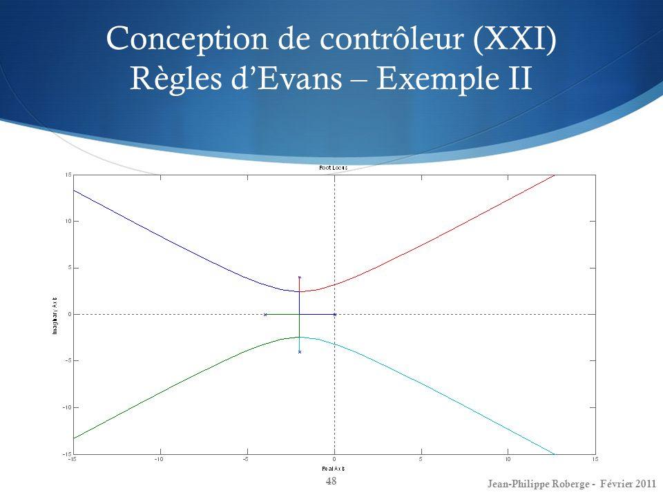 Conception de contrôleur (XXI) Règles dEvans – Exemple II 48 Jean-Philippe Roberge - Février 2011