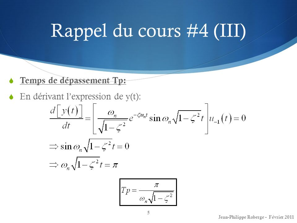 Rappel du cours #4 (III) Temps de dépassement Tp: En dérivant lexpression de y(t): 5 Jean-Philippe Roberge - Février 2011