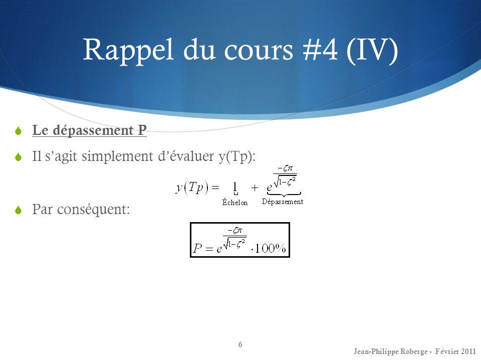 Conception de contrôleur (XXX) Critère de Routh-Hurwitz (1 ère partie) 57 Jean-Philippe Roberge - Février 2011