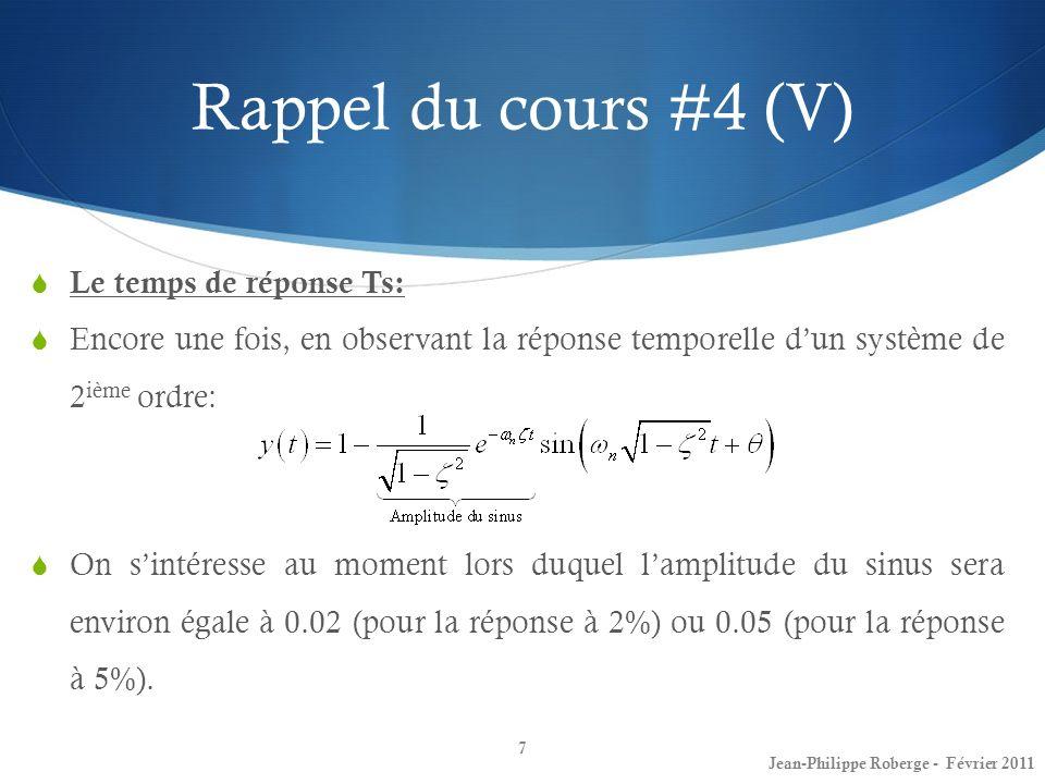 Rappel du cours #4 (V) Le temps de réponse Ts: Encore une fois, en observant la réponse temporelle dun système de 2 ième ordre: On sintéresse au momen