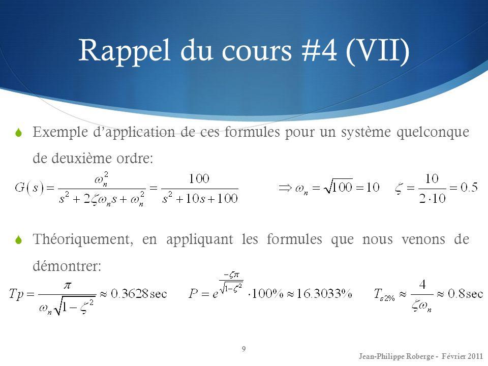 Rappel du cours #4 (VII) Exemple dapplication de ces formules pour un système quelconque de deuxième ordre: Théoriquement, en appliquant les formules