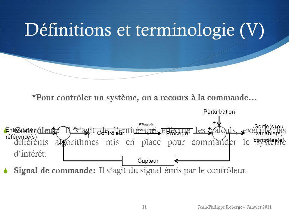 11 *Pour contrôler un système, on a recours à la commande… Contrôleur: Il sagit de lentité qui effectue les calculs, exécute les différents algorithme