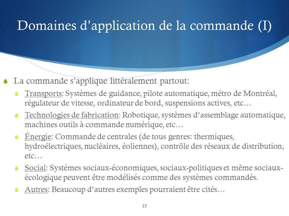 Domaines dapplication de la commande (I) 15 La commande sapplique littéralement partout: Transports: Systèmes de guidance, pilote automatique, métro d