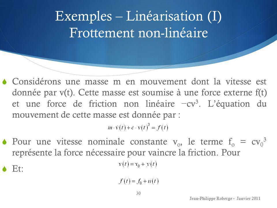 Exemples – Linéarisation (I) Frottement non-linéaire 30 Jean-Philippe Roberge - Janvier 2011 Considérons une masse m en mouvement dont la vitesse est