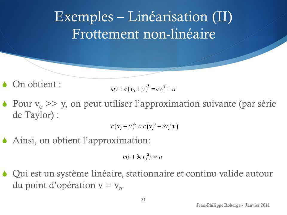 Exemples – Linéarisation (II) Frottement non-linéaire 31 Jean-Philippe Roberge - Janvier 2011 On obtient : Pour v o >> y, on peut utiliser lapproximat