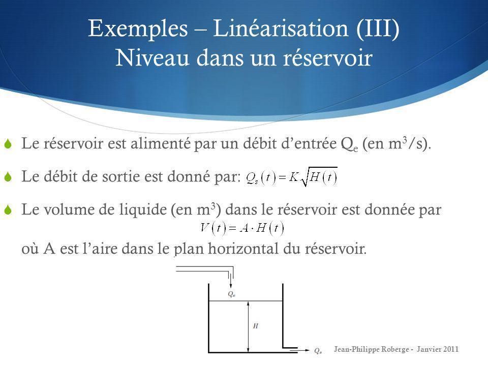 Exemples – Linéarisation (III) Niveau dans un réservoir 32 Jean-Philippe Roberge - Janvier 2011 Le réservoir est alimenté par un débit dentrée Q e (en