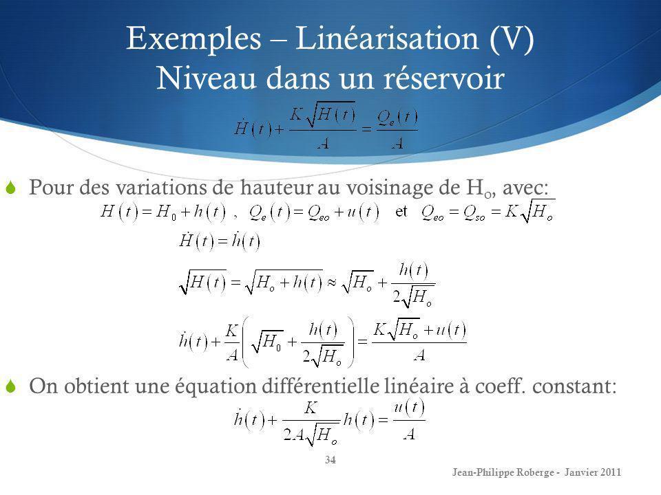 Exemples – Linéarisation (V) Niveau dans un réservoir 34 Jean-Philippe Roberge - Janvier 2011 Pour des variations de hauteur au voisinage de H o, avec