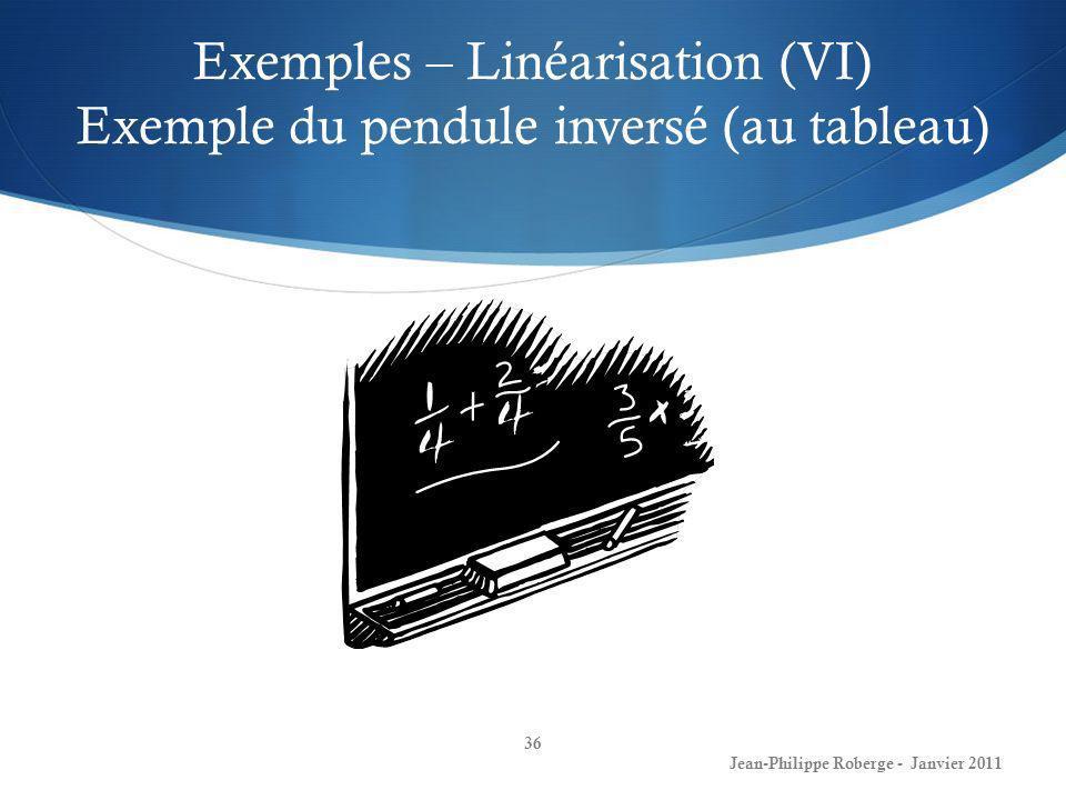 Exemples – Linéarisation (VI) Exemple du pendule inversé (au tableau) 36 Jean-Philippe Roberge - Janvier 2011