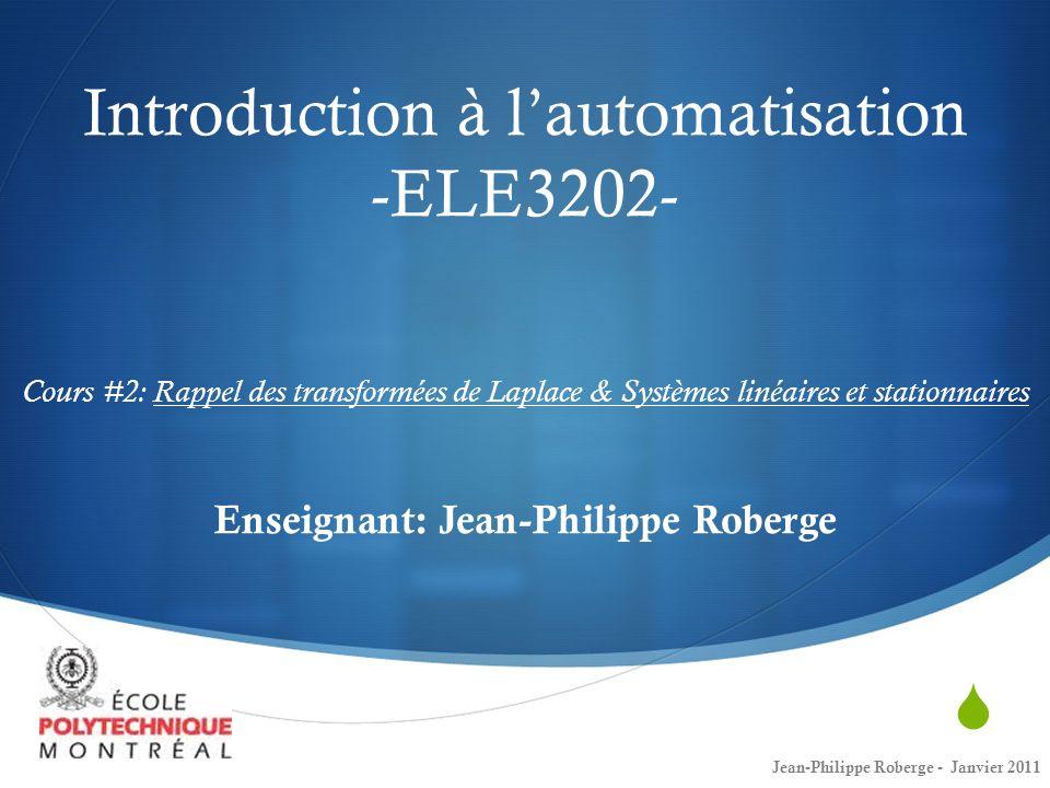 Transformée unilatérale de Laplace (III) Domaine temporel Domaine de Laplace 12 Exemple: Soit une fonction f(t) tel que: Alors: Démonstration: **Généralement, nous utiliserons des tables au lieu de transformer « à la main » … Jean-Philippe Roberge - Janvier 2011