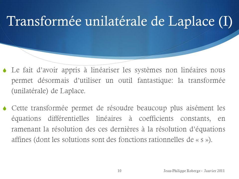 Transformée unilatérale de Laplace (I) 10 Le fait davoir appris à linéariser les systèmes non linéaires nous permet désormais dutiliser un outil fanta