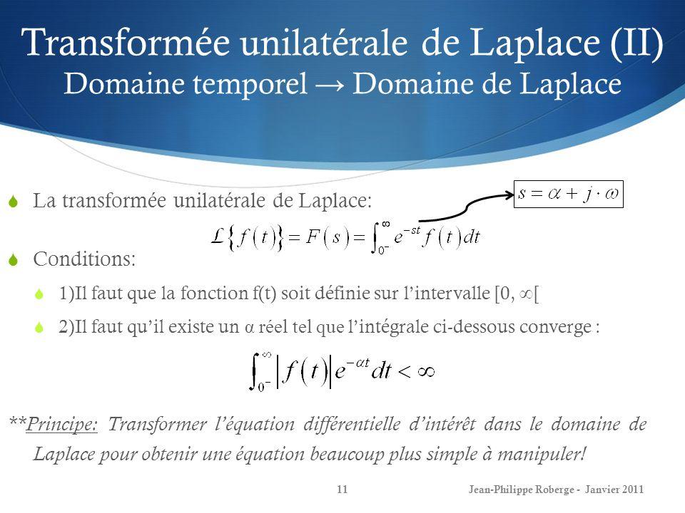 Transformée unilatérale de Laplace (II) Domaine temporel Domaine de Laplace 11 La transformée unilatérale de Laplace: Conditions: 1)Il faut que la fon