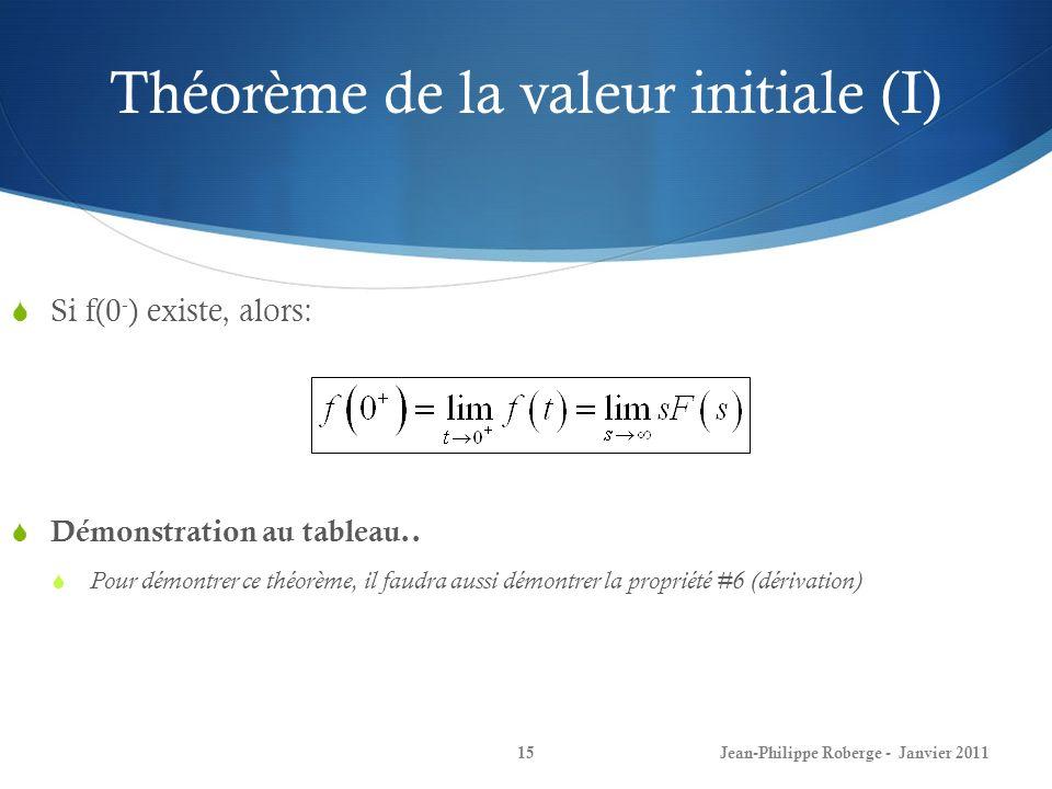Théorème de la valeur initiale (I) 15 Si f(0 - ) existe, alors: Démonstration au tableau.. Pour démontrer ce théorème, il faudra aussi démontrer la pr