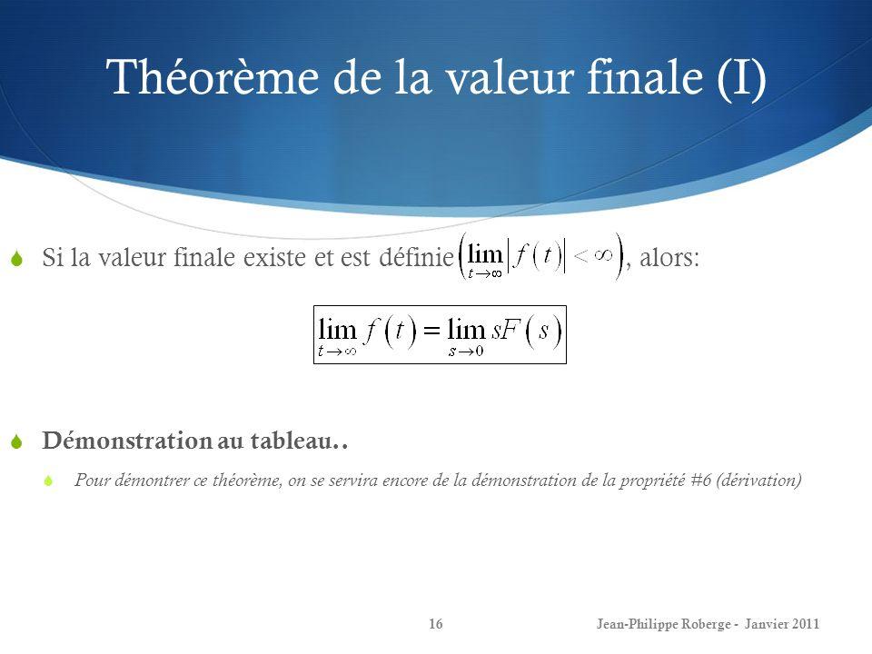 Théorème de la valeur finale (I) 16 Si la valeur finale existe et est définie, alors: Démonstration au tableau.. Pour démontrer ce théorème, on se ser
