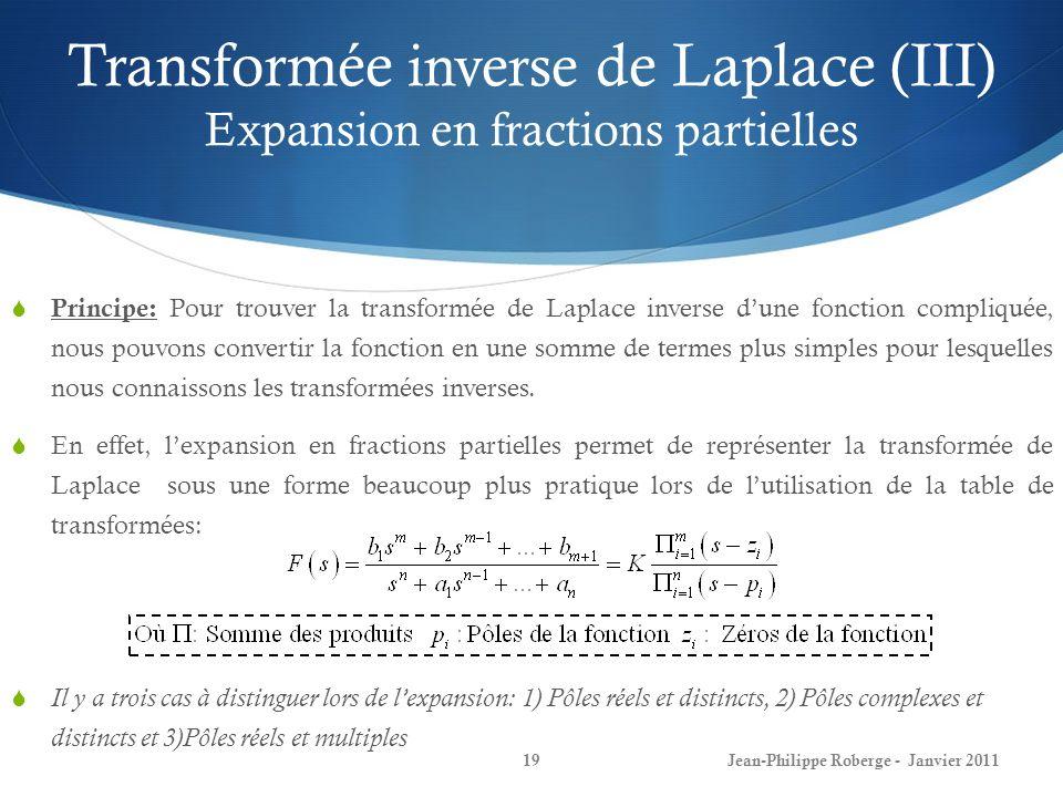 Transformée inverse de Laplace (III) Expansion en fractions partielles 19Jean-Philippe Roberge - Janvier 2011 Principe: Pour trouver la transformée de