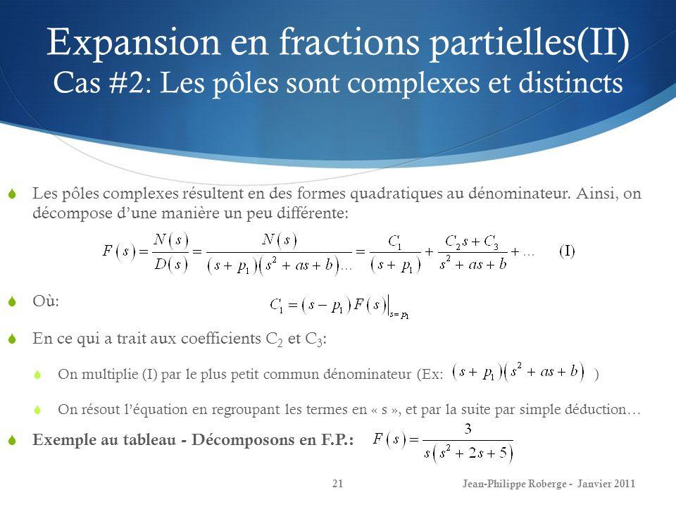 Expansion en fractions partielles(II) Cas #2: Les pôles sont complexes et distincts 21Jean-Philippe Roberge - Janvier 2011 Les pôles complexes résulte