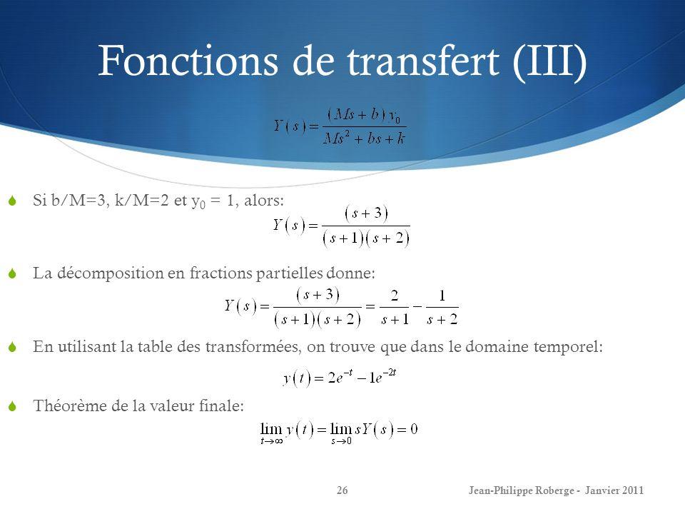 Fonctions de transfert (III) 26 Si b/M=3, k/M=2 et y 0 = 1, alors: La décomposition en fractions partielles donne: En utilisant la table des transform