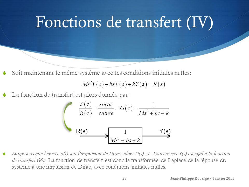 Fonctions de transfert (IV) 27 Soit maintenant le même système avec les conditions initiales nulles: La fonction de transfert est alors donnée par: Su
