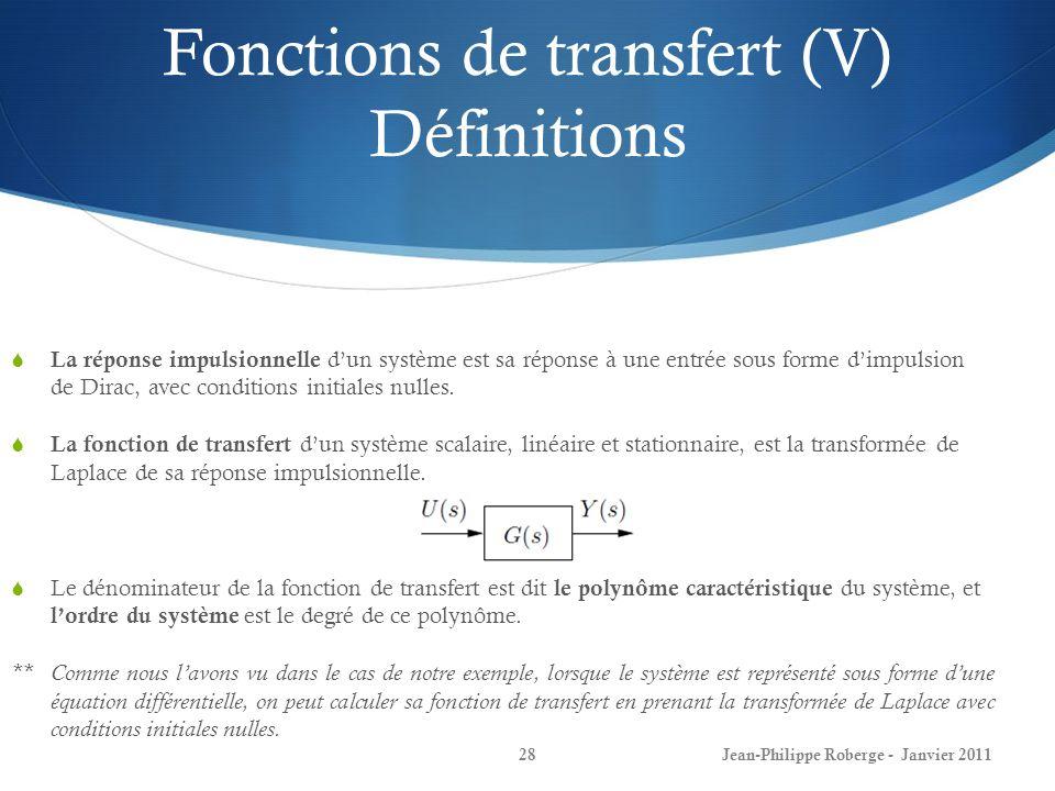 Fonctions de transfert (V) Définitions 28 La réponse impulsionnelle dun système est sa réponse à une entrée sous forme dimpulsion de Dirac, avec condi