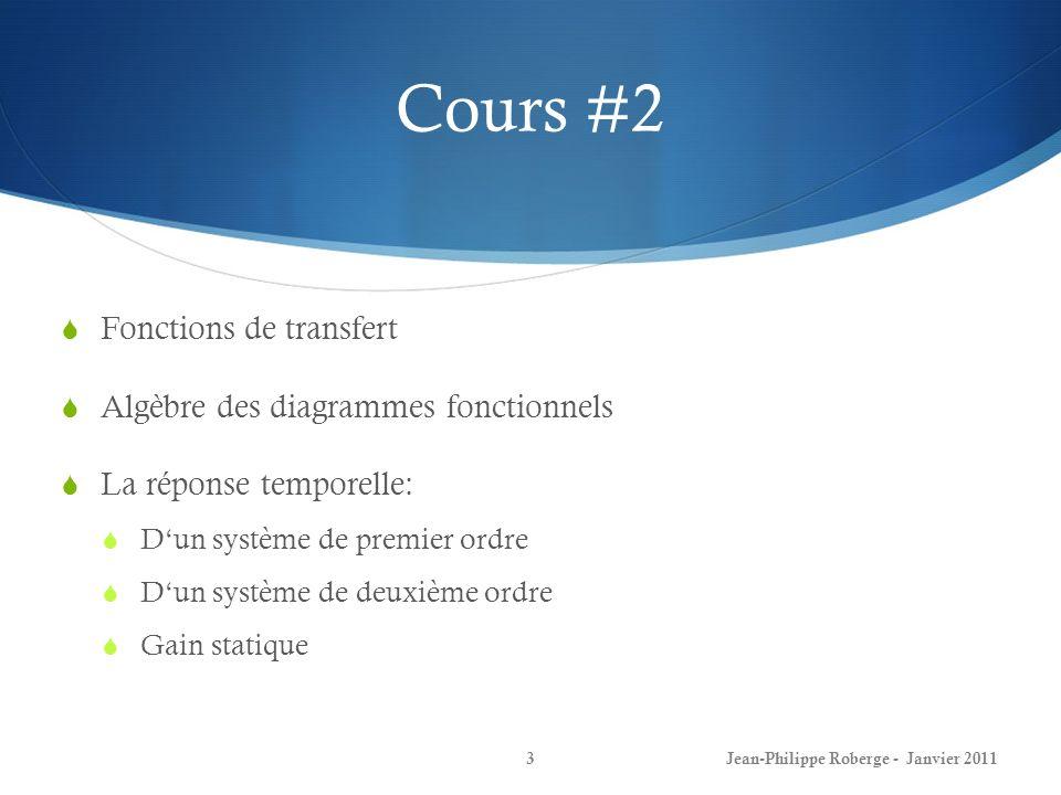 Cours #2 Fonctions de transfert Algèbre des diagrammes fonctionnels La réponse temporelle: Dun système de premier ordre Dun système de deuxième ordre
