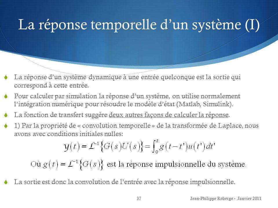 La réponse temporelle dun système (I) 37Jean-Philippe Roberge - Janvier 2011 La réponse dun système dynamique à une entrée quelconque est la sortie qu