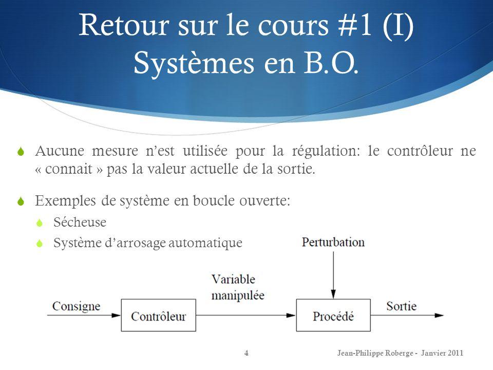 Retour sur le cours #1 (I) Systèmes en B.O. 4 Aucune mesure nest utilisée pour la régulation: le contrôleur ne « connait » pas la valeur actuelle de l