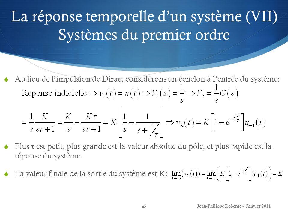 La réponse temporelle dun système (VII) Systèmes du premier ordre 43Jean-Philippe Roberge - Janvier 2011 Au lieu de limpulsion de Dirac, considérons u