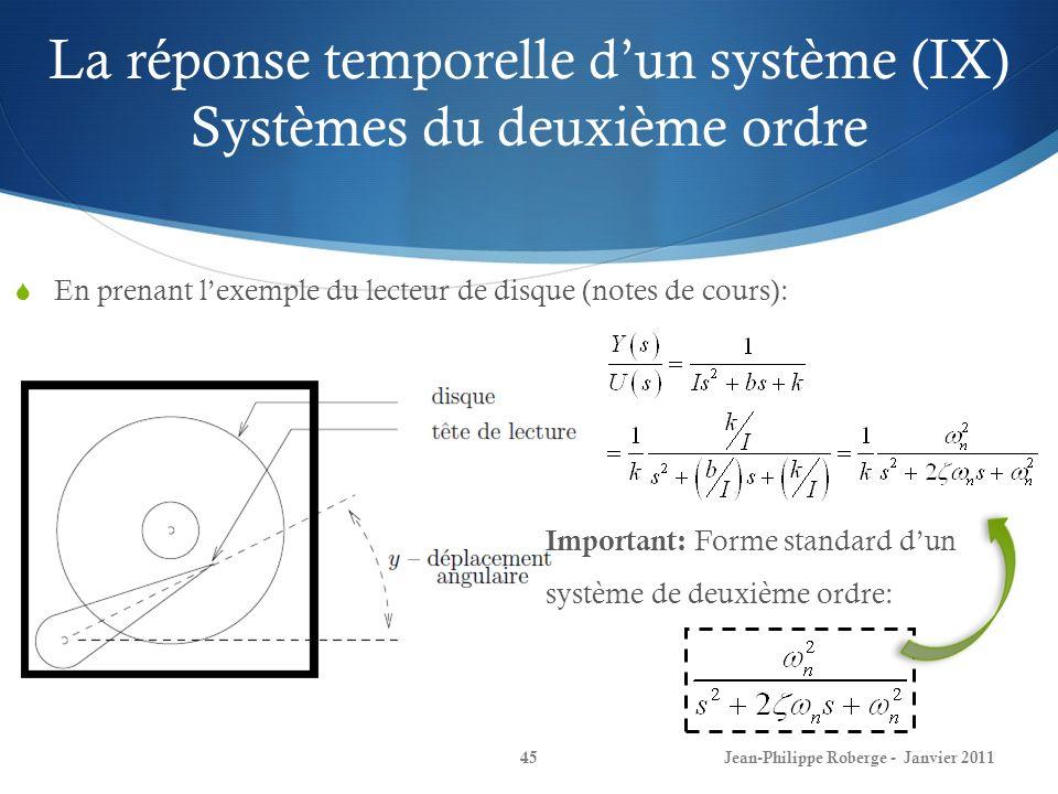 La réponse temporelle dun système (IX) Systèmes du deuxième ordre 45Jean-Philippe Roberge - Janvier 2011 En prenant lexemple du lecteur de disque (not