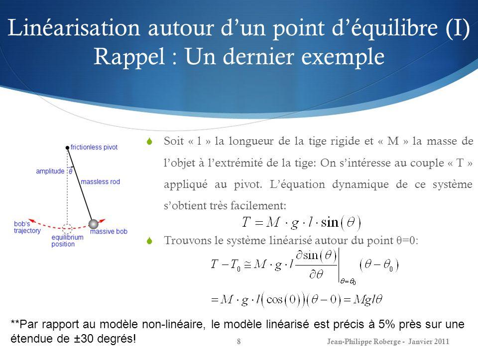Linéarisation autour dun point déquilibre (I) Rappel : Un dernier exemple 8Jean-Philippe Roberge - Janvier 2011 Soit « l » la longueur de la tige rigi