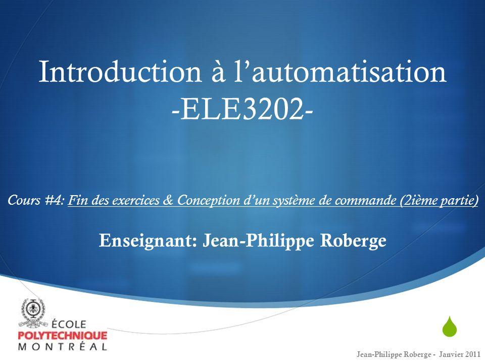 Rappel du cours #3 (VII) Réponse en fréquence 12Jean-Philippe Roberge - Janvier 2011 Considérons un système de premier ordre: La fréquence 1/ τ est la fréquence de coupure et le système est atténué de 3 décibels à cette fréquence.