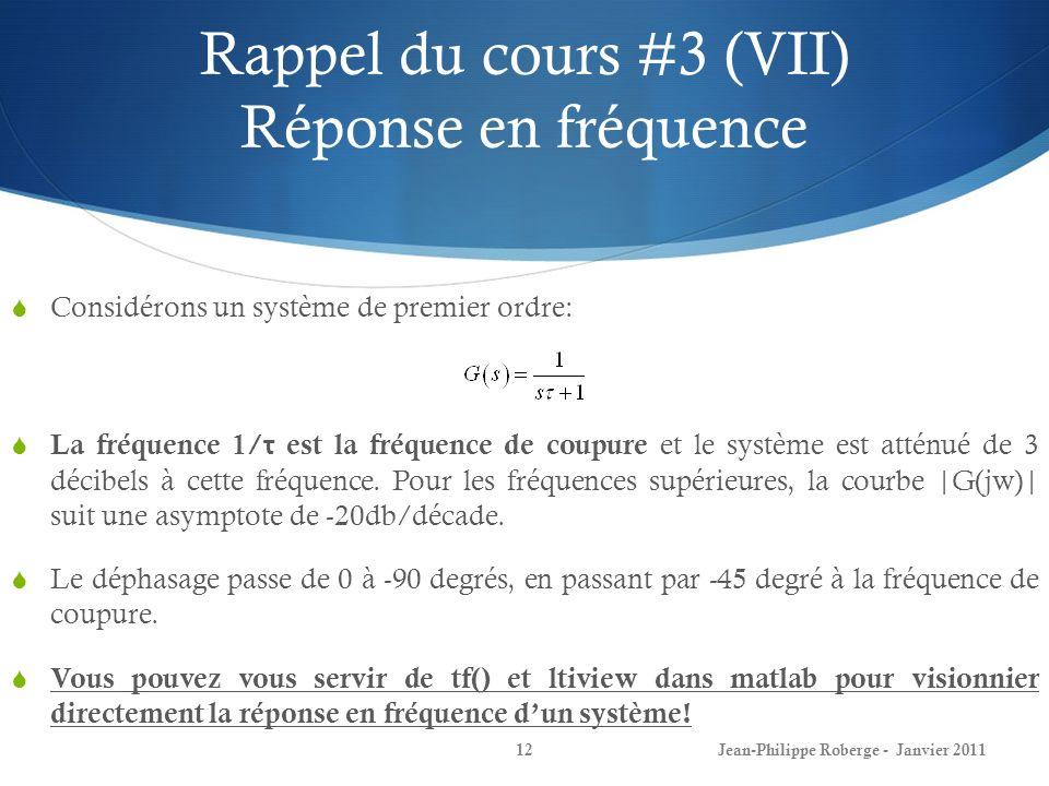 Rappel du cours #3 (VII) Réponse en fréquence 12Jean-Philippe Roberge - Janvier 2011 Considérons un système de premier ordre: La fréquence 1/ τ est la