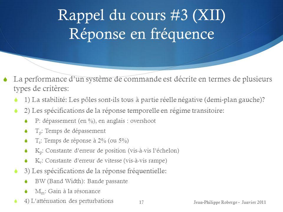 Rappel du cours #3 (XII) Réponse en fréquence 17Jean-Philippe Roberge - Janvier 2011 La performance dun système de commande est décrite en termes de p