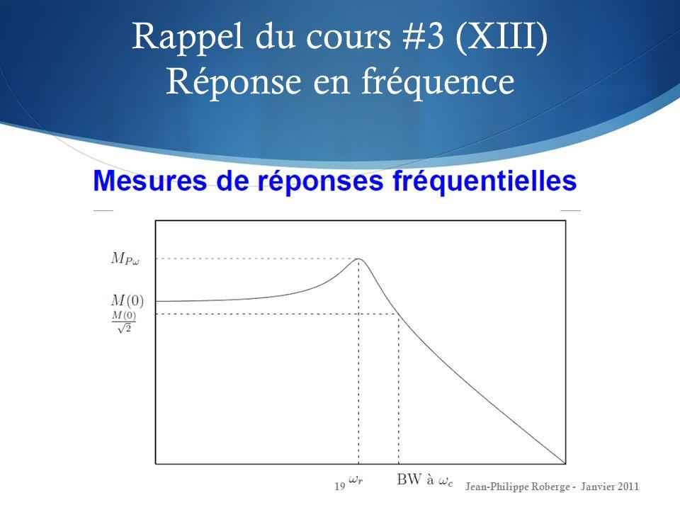 Rappel du cours #3 (XIII) Réponse en fréquence 19Jean-Philippe Roberge - Janvier 2011