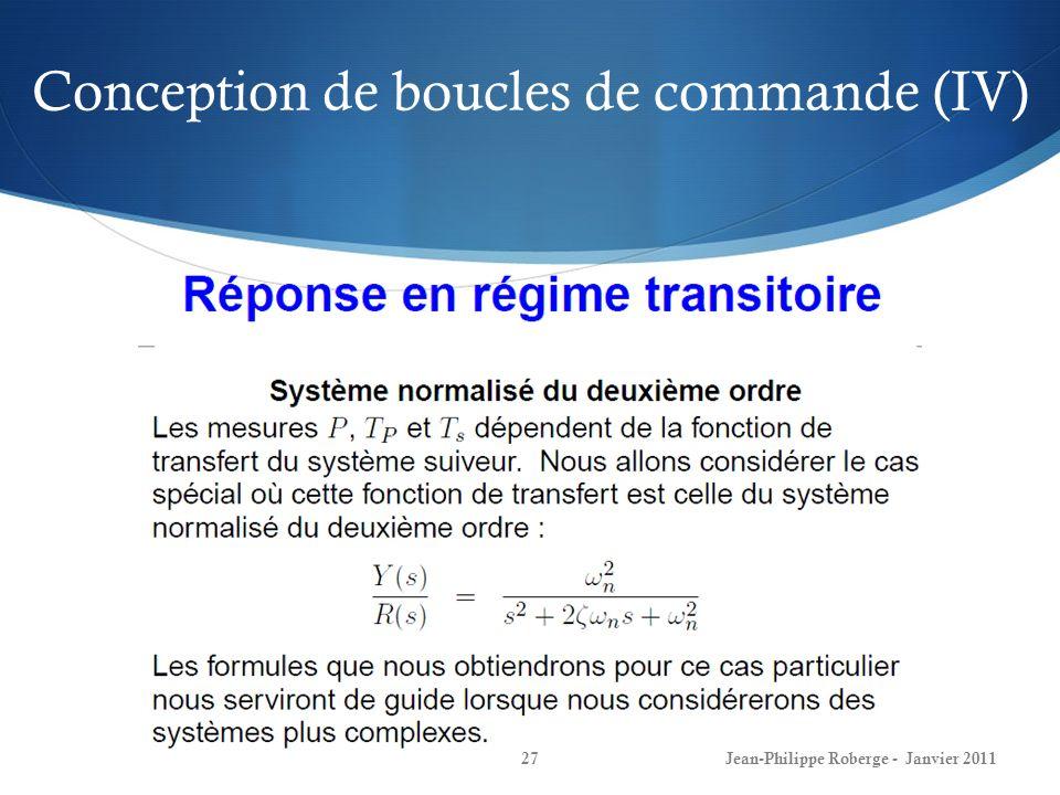 Conception de boucles de commande (IV) 27Jean-Philippe Roberge - Janvier 2011