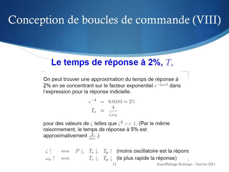 Conception de boucles de commande (VIII) 31Jean-Philippe Roberge - Janvier 2011