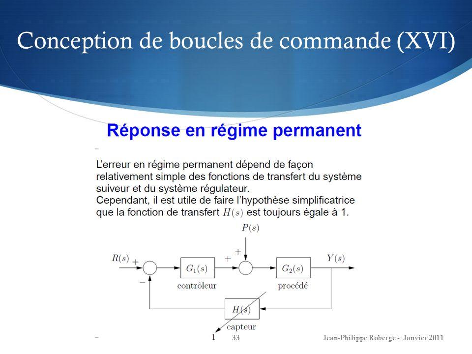 Conception de boucles de commande (XVI) 33Jean-Philippe Roberge - Janvier 2011