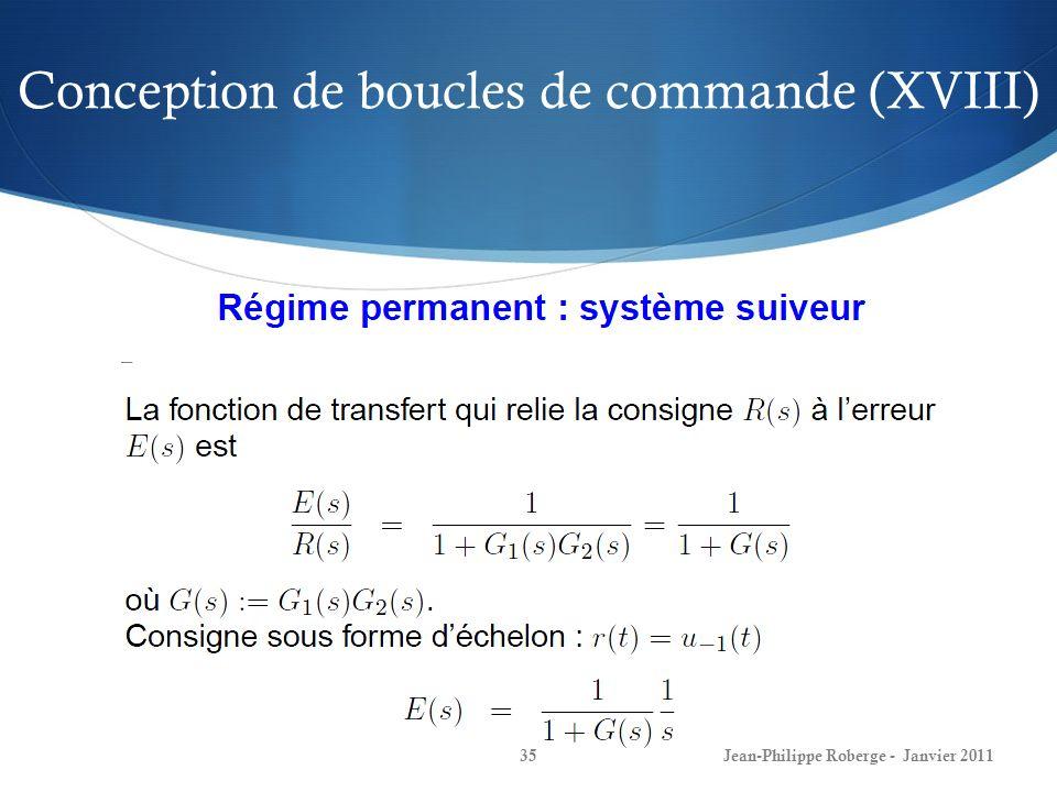 Conception de boucles de commande (XVIII) 35Jean-Philippe Roberge - Janvier 2011