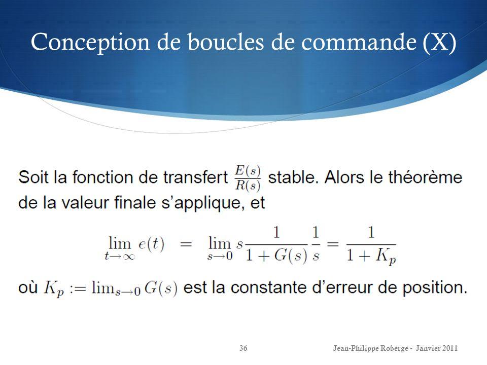 Conception de boucles de commande (X) 36Jean-Philippe Roberge - Janvier 2011